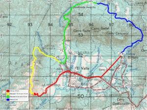 Mapa de ruta de 21k de El Valle Trail Marathon